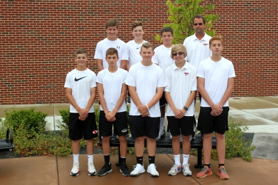 JV Tennis back row, from left:  Jackson Bowles, Logan Schwenk, Travis Newton, Coach Eric Flickinger. Bottom Row: Connor Rugg, Kyle Szydlowski, Aidyn Knedgen, Caleb Bushong, Jackson Aguillon.