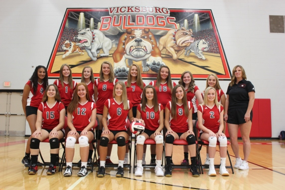Freshmen Volleyball seated from left: Grace Cherette, Madisyn Meyer, Macey Cook, Jenna Hall, Alayna Frank. Standing: Chloe Phillips, Hanna Tomer, Allison Bontrager, Hope Wright, Tristin Abnet, Alyvia Bailey, Lucy Glerum, Joanna Hassenger, Coach Kelly Fellows.