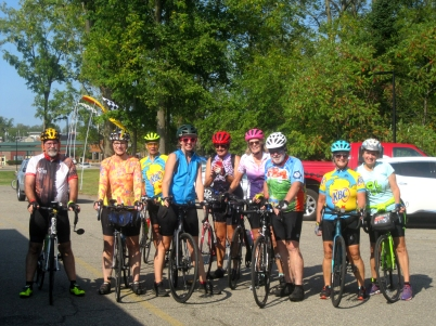 Bike riders stop for a photo before departing on a Quilt Trail ride through the Vicksburg countryside. Photo by Kitch Rinehart.