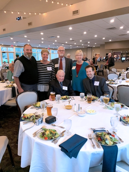 Don Sanborn, seated on the left was accompanied to an awards dinner in Ludington to receive his honors. They are from left to right standing: Randy and Tamara Stafford, Art and Pat Wilson O'Leary. Nate Melvin originally from Vicksburg is an Air Zoo employee and is seated on the right. Each of these people had a hand in researching and writing the nomination letter to the Michigan Historical Society on Sanborn's behalf.
