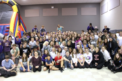 Students and teachers in the Schoolcraft High and Middle Schools gather each year to salute students who participate in Common Bond.