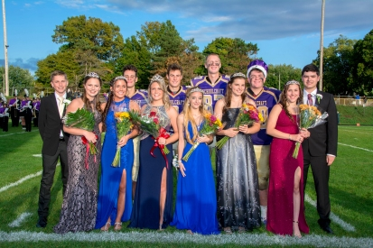 Court, front row, left to right: Allison Bailey, Gabi Saxman, Madi Ballett, Kaya McClish, Morgan Hamelink and Shayla Strake. Back row, left to right: Andrew Taylor, Stephen Schultz, Harmon DeVries, Jack Fowler and Sam Woodhams. Prince, Sam Woodhams; Princess, Allison Bailey; King, Jack Fowler; Queen, Madi Ballett.
