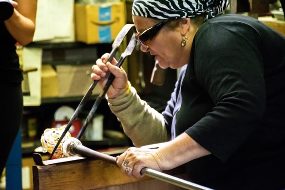Judith Konesni at work in her Kalamazoo studio.
