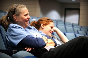 Susan Leininger is seated next to her daughter, Melissa Sparks. She is the theater director for Vicksburg High School on the right. Photo by Leeanne Seaver.