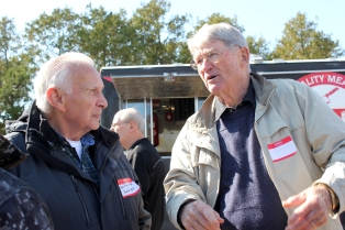 Willard Lafler, on the left, went to work at the mill right after he graduated from Vicksburg High School in 1956 and was there for 40-plus years. Tim Moore, another VHS grad in 1956, on the right, went to work at the mill in 1962 after college.