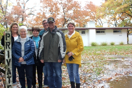The Johnson family at the entrance to their cottage on Gourdneck Lake in Prairie View Park. From left to right: Jayne Engels, Jill Blakeslee, Janet Knudsen, Jim Heeter, Rick Blakeslee, Judy Heeter.