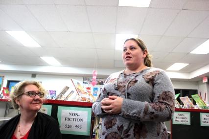 Jennifer Rodas, teachers union representative, addresses the Vicksburg School Board during its October meeting.