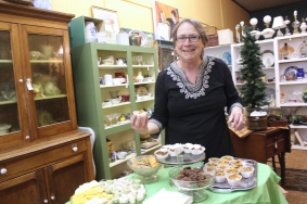 Sue Cooley, the owner of Grand Antique Gallery, will be serving refreshments as will the vendors at the Antique Mall on Grand Street.