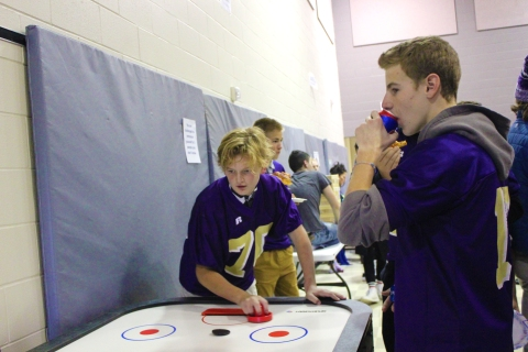 Schoolcraft students have fun playing games at the annual Common Bond X-Treme Kick-Off party in October.