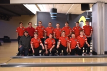 Bowling Kneeling from left: Walter Zablocki, Morgan Wood, Isaac Allen, Justin Plankerton, Travis Newton, and Eli Welch. Standing from left: Jordan Cosby, Landon Geark, Matthew Simonds, Kevin Munn, Collin Crandall, JP Fritz, Regan Powell, and Tristan Bierema. Photo by Lisa Harbour.