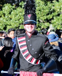 Brett Manski, one of the three Vicksburg Big Red Machine drum majors, prepares to lead the band in the Sugar Bowl parade through downtown New Orleans.