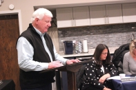 Vicksburg Historical Society President Don Wiertella spoke on behalf of the Society at the December village council meeting. He is also president of the parks and recreation committee.
