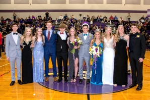 Winter Homecoming royalty in Schoolcraft are, from left: freshman representatives Jack VanDam and Mariah Flynn; junior representative Allie Goldschmeding and Prince Max Desmond; sophomore representative Alex Stoner and Princess Hannah Thompson; senior representatives: King Karson Leighton and Queen Savannah McDonald; Savannah Seath, Andelyn Simkins and Ryan Gillesby. Kobe Clark was on the court but had to leave for half time. Photo by Stephanie Blentlinger, Lingering Memories Photography.