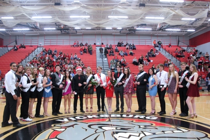 Vicksburg Winter Homecoming court, from left: Jayce Todd, Anna Deal, Carter Mann, Makenzie Freund, Kenneth Dark, Kayla Miller, Gabriel Vandyke,  Tailynn Knapp, King Tyler Buddemeier, Queen Camille Wadley, Prince Andrew Reno, Princess Kylie Anthony, Levi Shephard, Skylar Trimble, Drew First, Emily White, Levi Thomas, Hannah Vallier, Evan Anderson, Hannah Johnson.