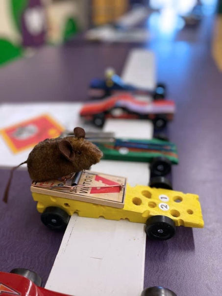 This unique mousetrap car was created by a Schoolcraft Cub Scout and his dad.