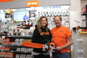 Sarah Howells and Steve Schimp serving customers at Vicksburg Hardware.