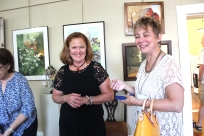 Cindy Krill and Helen Kleczynski at an artists reception put on by the VCAC.