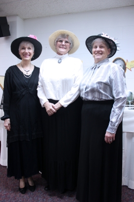 Sue Opalewski in her Easter bonnet on the far right.