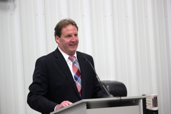 Gary Hallam at the opening of the Eimo East plant in the Leja Industrial Park.