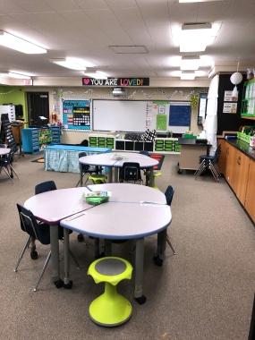 An empty classroom in the Schoolcraft elementary school building.